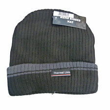 Mens Thermal Fleece Lined 100% Polyester Ribbed Hat - Two Colours