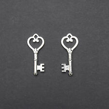 2, 5 or 10 Silver Plated Tone Key Pendant 18x46mm Nickel Free