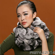New Lady Women 100% Real Genuine Rex Rabbit Fur Scarf Neck Wrap Chinchilla