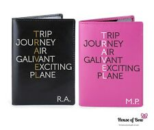 Pink Black Personalised leather Passport Holder Cover Travel Journey Holiday NEW
