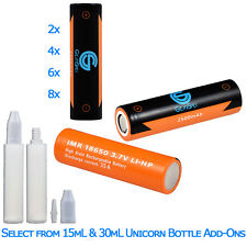 Gearspek 35A Rechargeable 18650 Batteries + 15mL or 30mL Unicorn Dripper Bottles