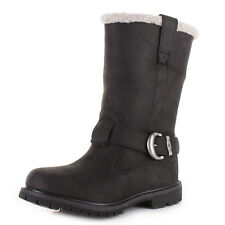 Womens Timberland Nellie Pull On Black Leather Lined Waterproof Boots Sz Size