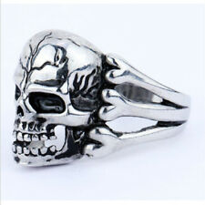 Cool Punk Stainless Steel Vintage Silver Skull Biker Ring Size  9 10 11 12