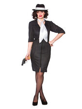 Ladies Sexy Black Gangster Moll 20s 1920s Fancy Dress Pinstripe Costume Outfit