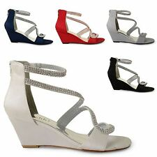 WOMENS LADIES WEDDING BRIDAL MID HEEL WEDGE SANDALS PROM OPEN TOE SATIN SHOES