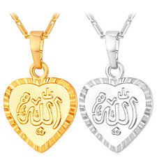 18K Gold / Platinum Plated Jewelry Heart Shaped Allah Pendant Necklace for Women