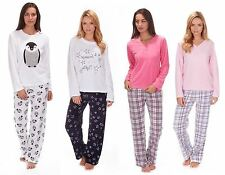 Ladies Cosy Soft Feel Fleece Top & Bottoms Pyjamas Penguin Star Plain