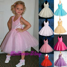 Beaded Halter Formal Dress Wedding Flower Girls Pageant Party Size 2T-10 FG013