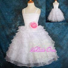 Diamante Tiered Dress Wedding Pageant Party White Pink Flower Girl Sz 18M-7 #200