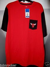 CHICAGO BULLS NBA TEAM COLORS ADIDAS POCKETED RETRO RINGER T-SHIRT NWT