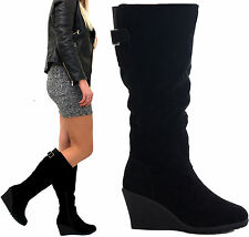 WOMENS LADIES STRETCH OVER THE CALF PLATFORM KNEE HIGH CHUNKY HEEL BOOTS SIZE