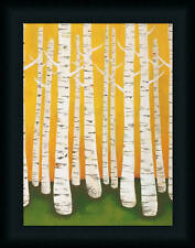 Autumn Birches Lisa Contemporary Tree Framed Art Print Wall Décor Picture 16x12