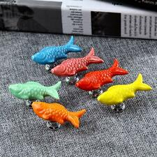 1Pc Ceramic Cabinets Cupboard Drawers Carp Fish Door Pulls Handles Knob Hardware