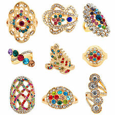 Wholesale Lot Fashion Jewelry 10pcs Gold Plated Delicate Assorted Crysal Rings