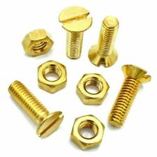 M6 x 20mm SOLID BRASS MACHINE SCREWS SLOTTED CSK COUNTERSUNK + HEX FULL NUTS