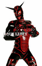 Men's Latex Rubber Catsuit with Inflatable Breasts, Cross Dress Evil Costume
