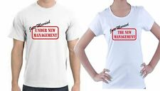 JUST MARRIED HIS AND HERS T-SHIRTS - MANAGEMENT WEDDING - TWO T-SHIRTS S-XXL