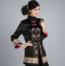 Charming Chinese Women's Silk embroidery jacket /coat Black Sz 8 10 12 14 16 18