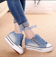 New Washed Denim Casual Lace Up Womens Sneakers Canvas Thick Heel Creepers Shoes