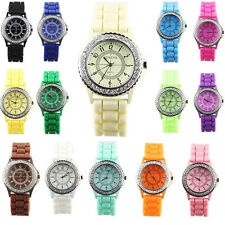 Good Fashion Rhinestone Crystal Lady Silicone Jelly Gel Band Quartz Wrist Watch