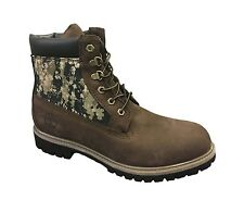 """Timberland A115E Mens 6"""" Inch Brown Camo Panel Boots Double Sole Camouflage"""
