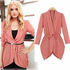 Women's Casual Long Sleeve One Button Chiffon Slim Fit Blazer Jacket Coat Suit