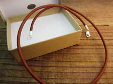Leather Cord Necklace - Sterling Silver Clasp/Ends - 3mm Saddle Brown - USA