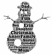 PERSONALISED WORD ART PRINT SNOWMAN CHRISTMAS XMAS PRESENT FAMILY FESTIVE GIFT