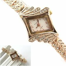 Women's Crystal Rhinestone Alloy Stainless Steel Analog Quartz Wrist Watch New