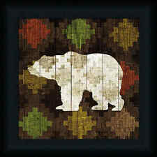 Southwest Lodge Bear 12x12 Animal Silhouette Pattern Framed Art Picture