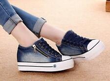 Womens Round Toe Low Top Lace Up Sneakers Platform Wedge Muffin Canvas Shoes