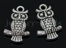 10/40/200pcs Antique Silver Lovely Owl Jewelry Finding Charms Pendant 20x13mm