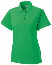 Russell APPLE GREEN Cotton Pique Ladies Polo Golf Sports Shirt