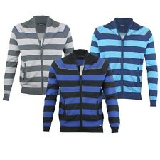 MENS BLUE GREY OR BLACK STRIPED ZIP-UP JACKET CARDIGAN JUMPER SIZES S,M,L,XL,XXL