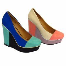 WOMENS CREAM OR BLUE COLOUR BLOCK RETRO PLATFORM WEDGE COURT SHOE SIZE 3-8