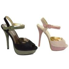 Women Nude Or Black Peep-toe Strappy Sandals Platform Shoes Sizes 5-9