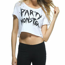 Iron Fist Party Monster Womens Ladies New White Crop Tee Top T Shirt Size XL 16