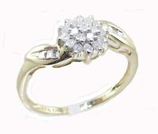 9CT GOLD 0.22CT DIAMOND CLUSTER ENGAGEMENT RING SIZE LT ANNIVERSARY GIFT