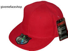 BRAND NEW PLAIN FITTED HAT CAP, RED FLAT PEAK CAP