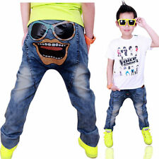 Kids Costumes Girls Boys Clothes Denim Jeans Skinny Harem Pants Trousers 3-8Y