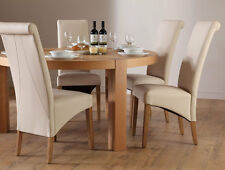 Brighton & Richmond Round Oak Dining Table and 4 6 Leather Chairs Set (Cream)
