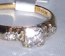 Estate diamond Past Present Future 3 Wedding 14k Gold Size 5.5 Sweet B175SYE