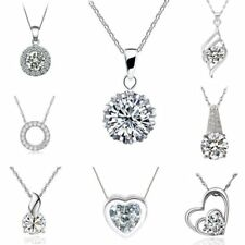 New Women Silver Heart Dangle CZ White Gold Plated Choker Chain Necklace Pendant