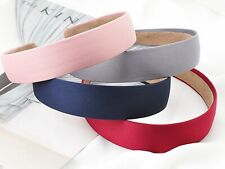 "Wide 28mm(1.1"") Alice Covered Satin Hair Band Headband Korean Hairband 7 Color"