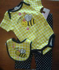 """INFANT GIRLS 2PC OR 3PC """"SWEET BEE"""" ONE PC CREEPER & LONG KNIT PANTS SET NWT"""