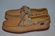 SEBAGO MEN'S PREMIUM DOCKSIDES CREST TAN LEATHER BOAT SHOES SZ 9 M