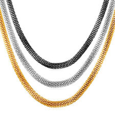Stainless Steel 18K Gold Plated Mesh Chain Necklaces 22inch 26''Men Jewelry