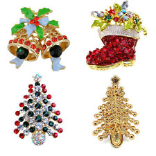 Multi-Colored Rhinestone Christmas Bell Crystal Christmas Tree Brooch Xmas Gifts