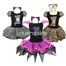 Baby Girl Kids Leopard Kitty Cat Tutu Fancy Dress Party Costume Xmas Outfit +Ear
