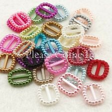 """Rectangle Pearlized Buckle/Ribbon Slider for 3/8"""" Ribbons Wedding/Scrapbooking"""